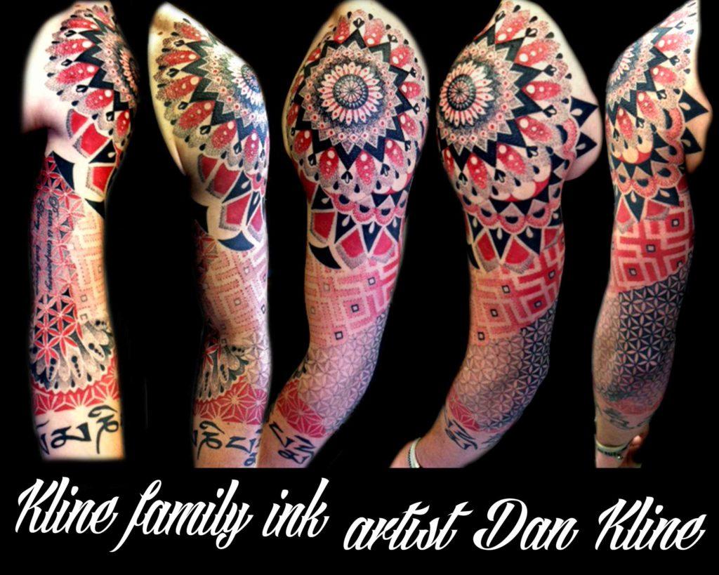 Zach's geometric dotwork tattoo