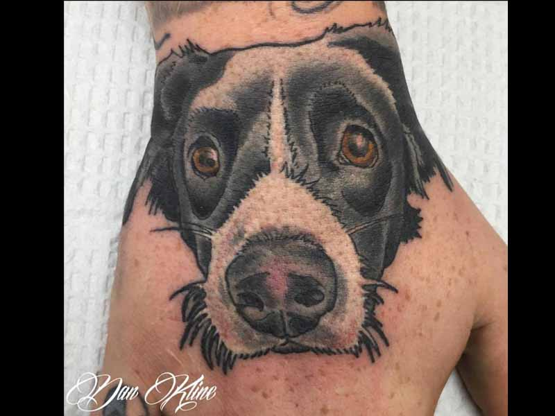 new traditional dog portrait tattoo